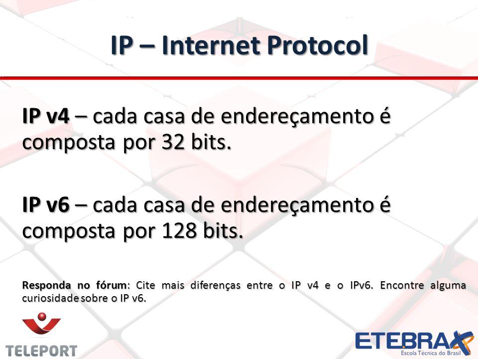 IP – Internet Protocol IP v4 – cada casa de endereçamento é composta por 32 bits. IP v6 – cada casa de endereçamento é composta por 128 bits.