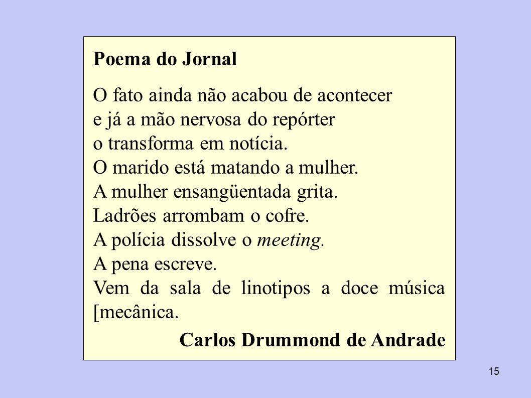 Poema do Jornal O fato ainda não acabou de acontecer. e já a mão nervosa do repórter. o transforma em notícia.
