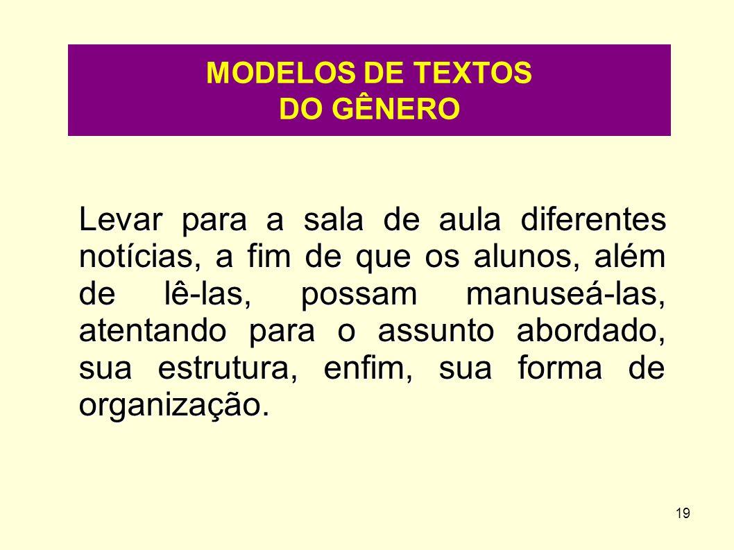 MODELOS DE TEXTOS DO GÊNERO