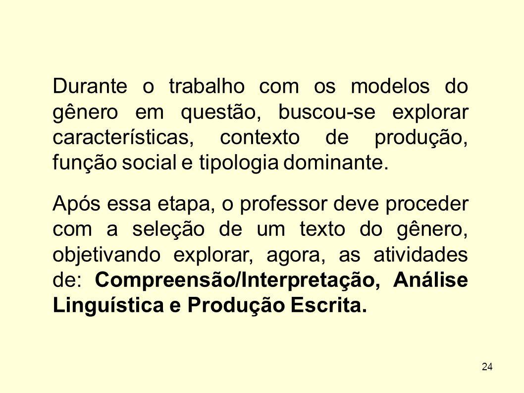 Durante o trabalho com os modelos do gênero em questão, buscou-se explorar características, contexto de produção, função social e tipologia dominante.