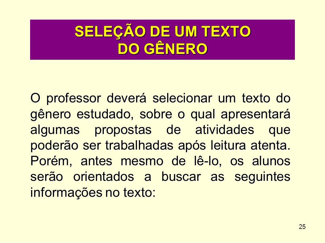 SELEÇÃO DE UM TEXTO DO GÊNERO