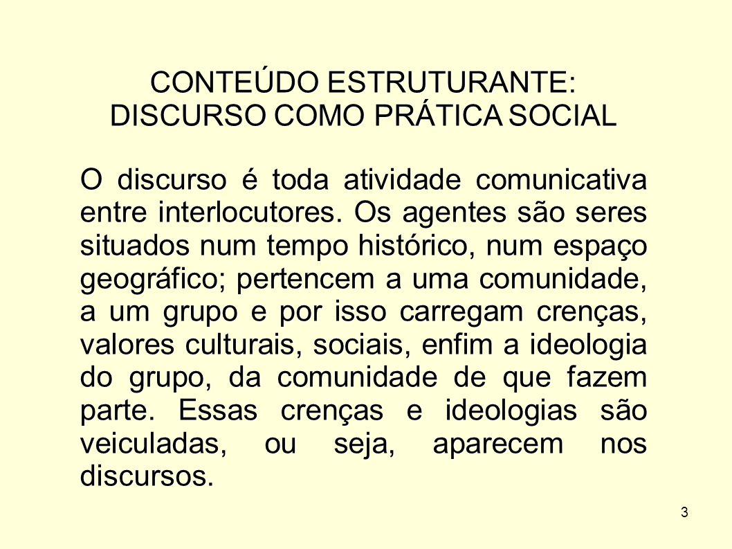 CONTEÚDO ESTRUTURANTE: DISCURSO COMO PRÁTICA SOCIAL