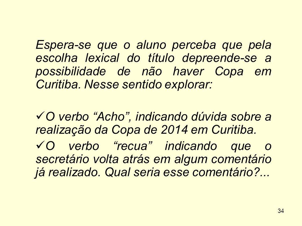 Espera-se que o aluno perceba que pela escolha lexical do título depreende-se a possibilidade de não haver Copa em Curitiba. Nesse sentido explorar: