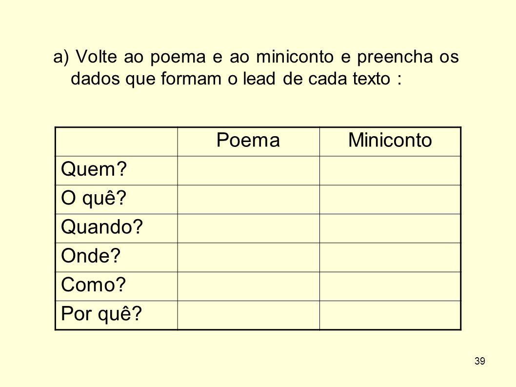 Poema Miniconto Quem O quê Quando Onde Como Por quê