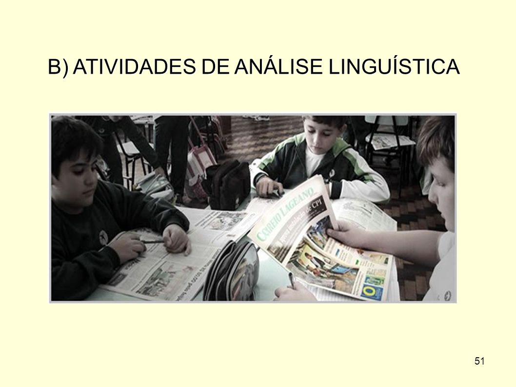 B) ATIVIDADES DE ANÁLISE LINGUÍSTICA