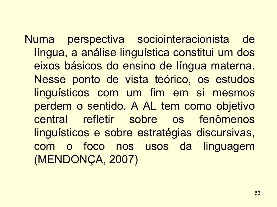 Numa perspectiva sociointeracionista de língua, a análise linguística constitui um dos eixos básicos do ensino de língua materna.