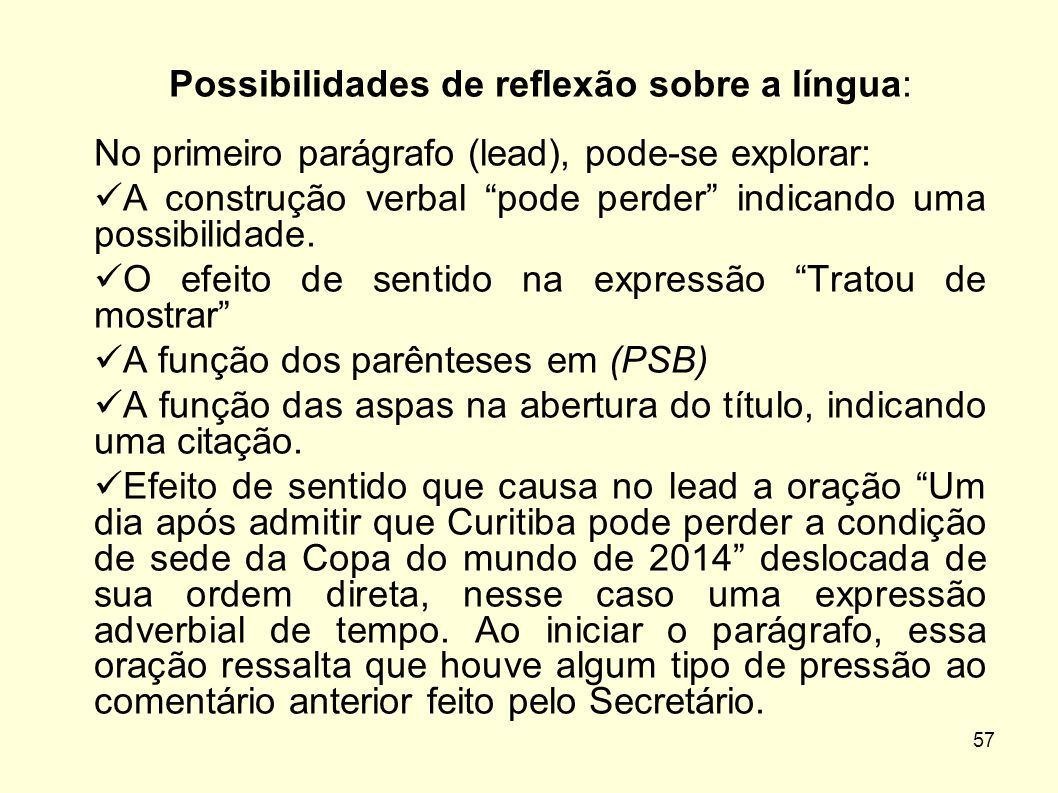 Possibilidades de reflexão sobre a língua: