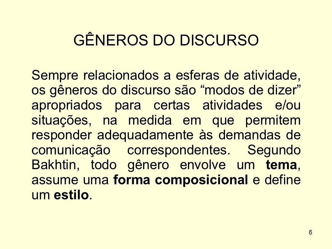 GÊNEROS DO DISCURSO