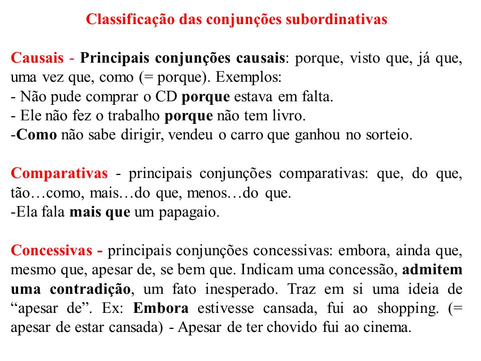 Classificação das conjunções subordinativas