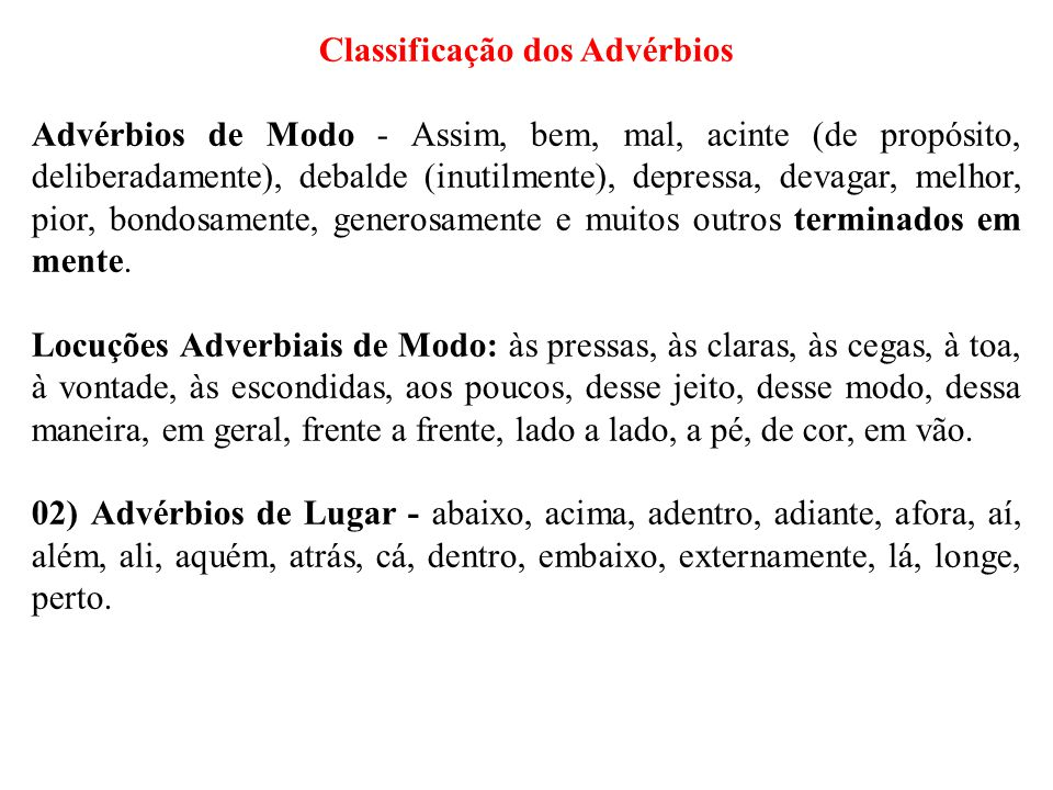 Classificação dos Advérbios