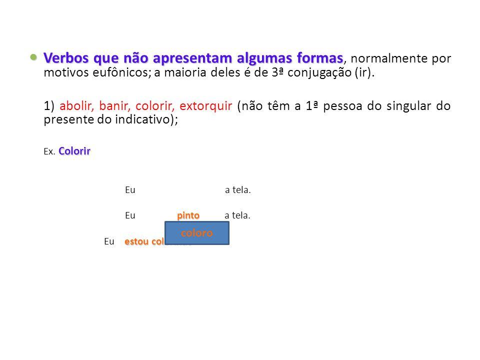 Verbos que não apresentam algumas formas, normalmente por motivos eufônicos; a maioria deles é de 3ª conjugação (ir).