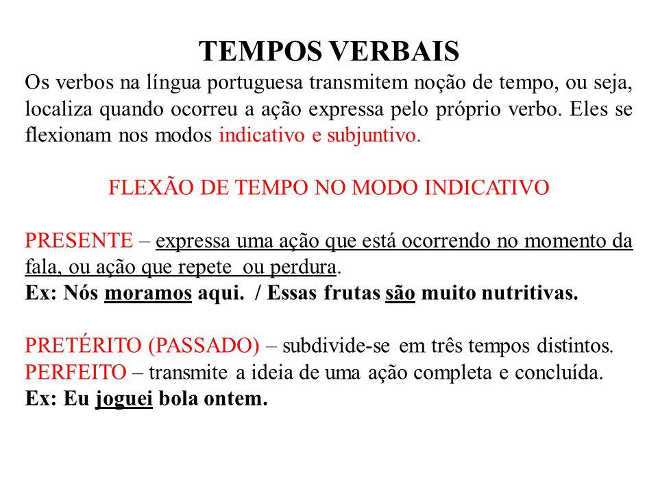 FLEXÃO DE TEMPO NO MODO INDICATIVO
