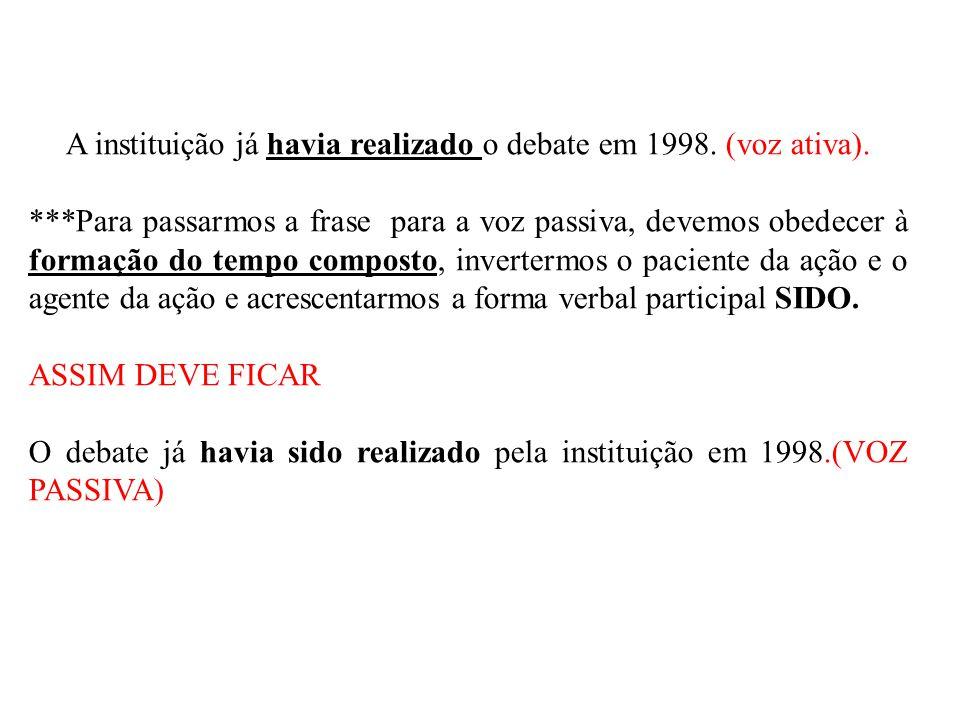 A instituição já havia realizado o debate em 1998. (voz ativa).