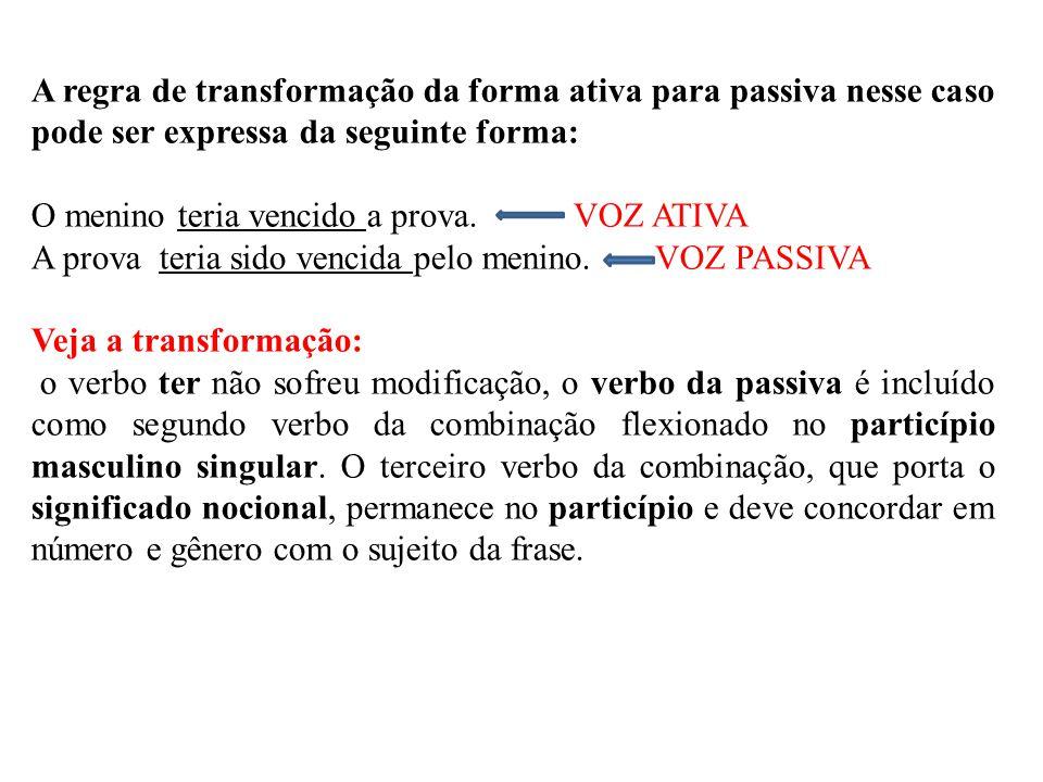 A regra de transformação da forma ativa para passiva nesse caso pode ser expressa da seguinte forma: