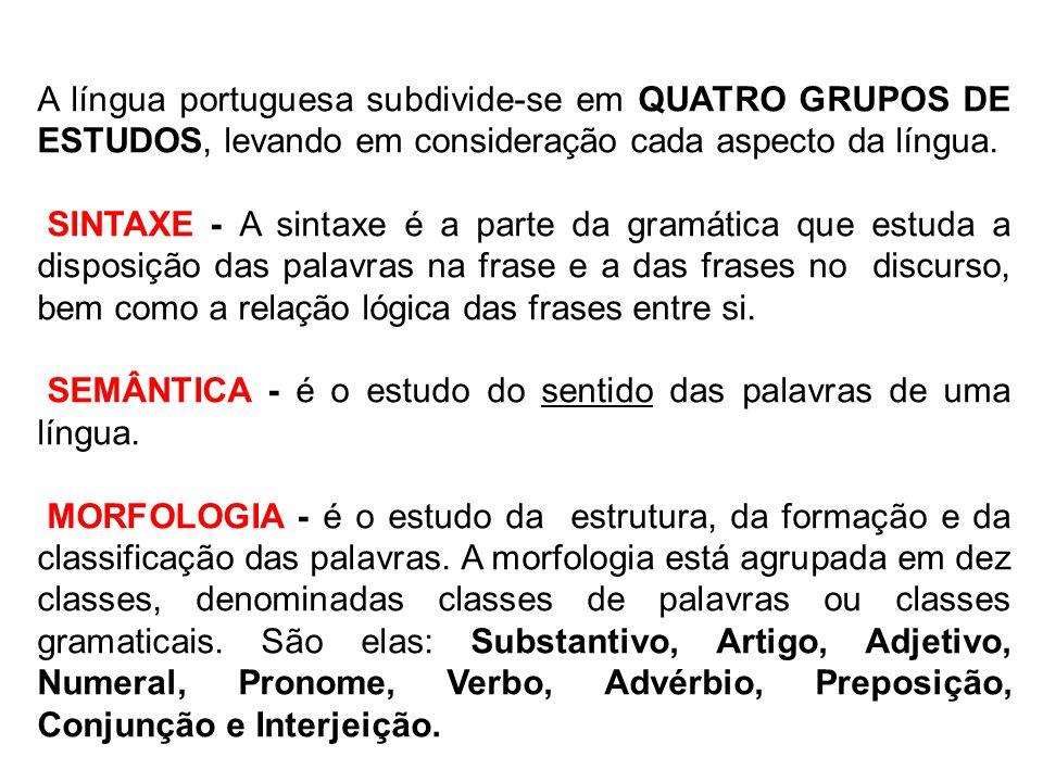 A língua portuguesa subdivide-se em QUATRO GRUPOS DE ESTUDOS, levando em consideração cada aspecto da língua.