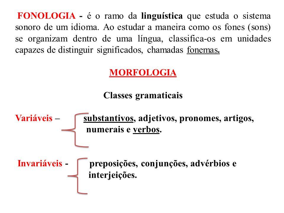 MORFOLOGIA Classes gramaticais
