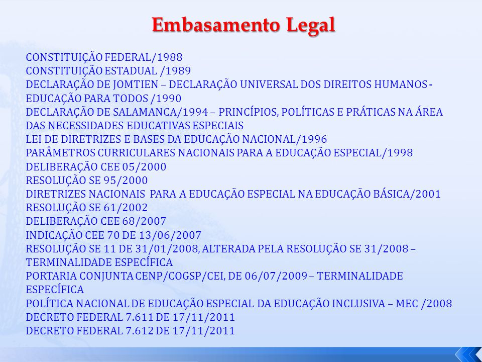 Embasamento Legal CONSTITUIÇÃO FEDERAL/1988