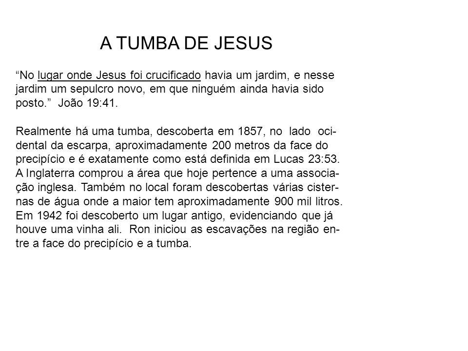 A TUMBA DE JESUS No lugar onde Jesus foi crucificado havia um jardim, e nesse. jardim um sepulcro novo, em que ninguém ainda havia sido.