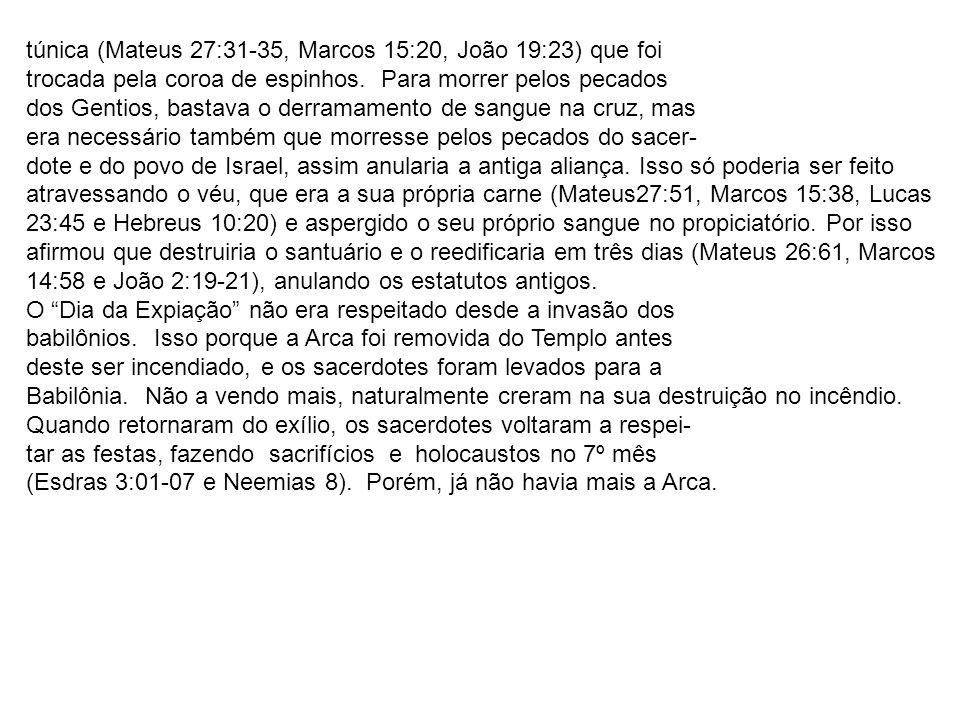 túnica (Mateus 27:31-35, Marcos 15:20, João 19:23) que foi