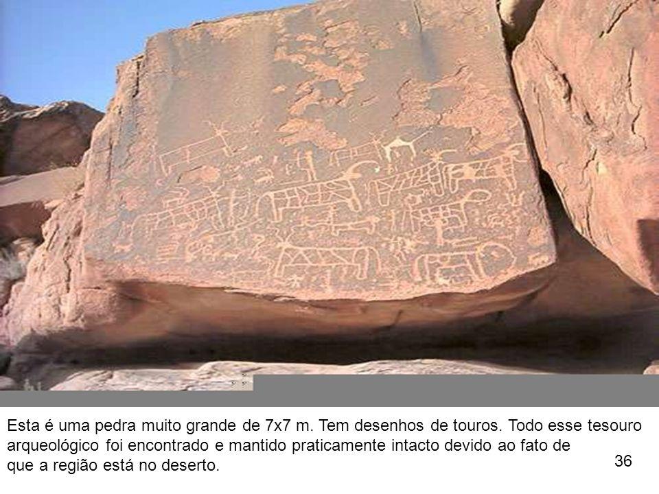 Esta é uma pedra muito grande de 7x7 m. Tem desenhos de touros