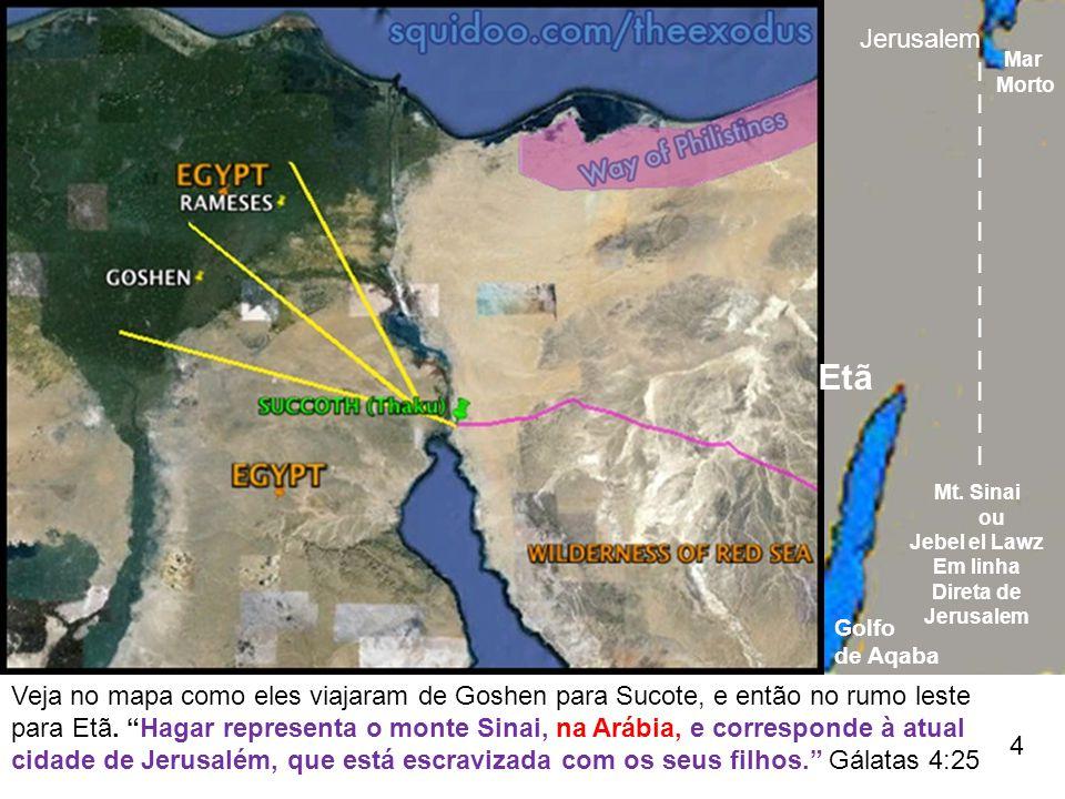 Jerusalem Mar. Morto. I. Etã. Mt. Sinai. ou. Jebel el Lawz. Em linha. Direta de. Jerusalem.