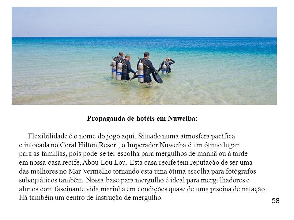 Propaganda de hotéis em Nuweiba: