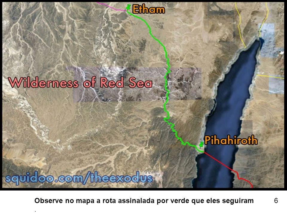 Observe no mapa a rota assinalada por verde que eles seguiram