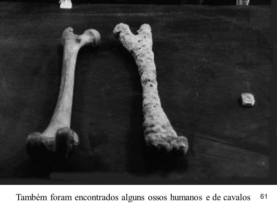 Também foram encontrados alguns ossos humanos e de cavalos