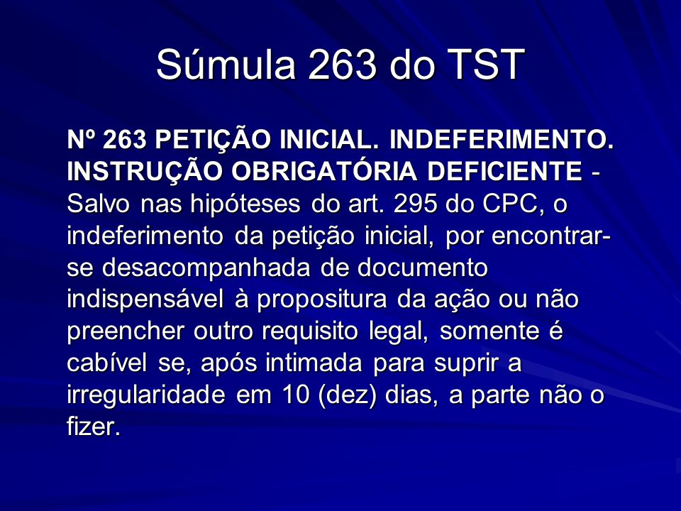 Súmula 263 do TST