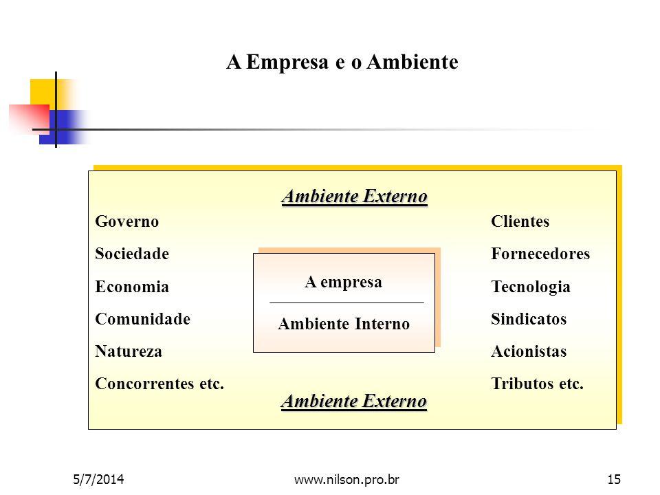 A Empresa e o Ambiente Ambiente Externo Ambiente Externo