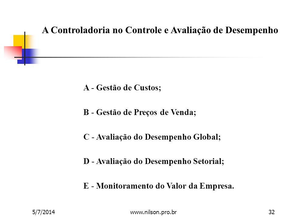 A Controladoria no Controle e Avaliação de Desempenho