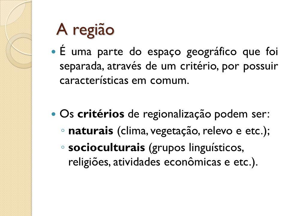 A região É uma parte do espaço geográfico que foi separada, através de um critério, por possuir características em comum.