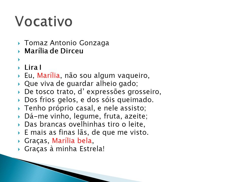 Vocativo Tomaz Antonio Gonzaga Marília de Dirceu Lira I