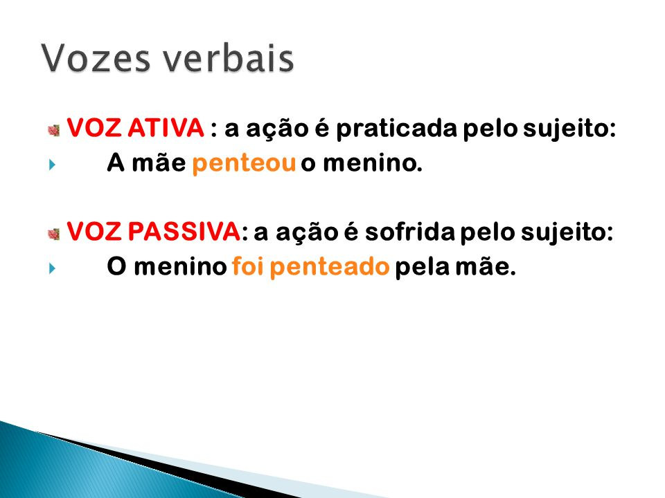 Vozes verbais VOZ ATIVA : a ação é praticada pelo sujeito: