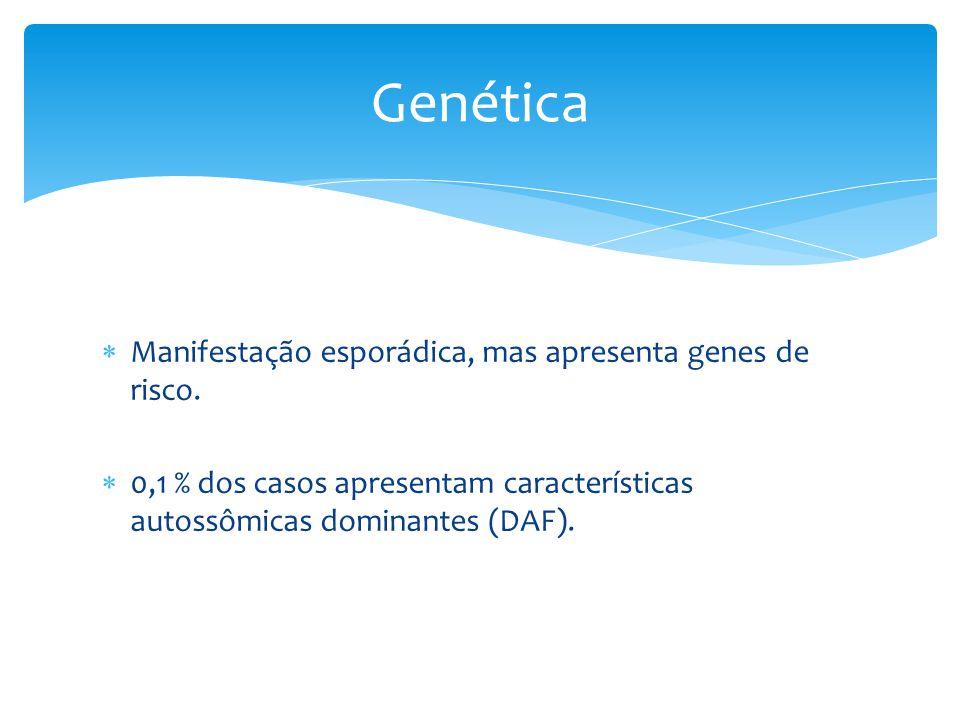 Genética Manifestação esporádica, mas apresenta genes de risco.
