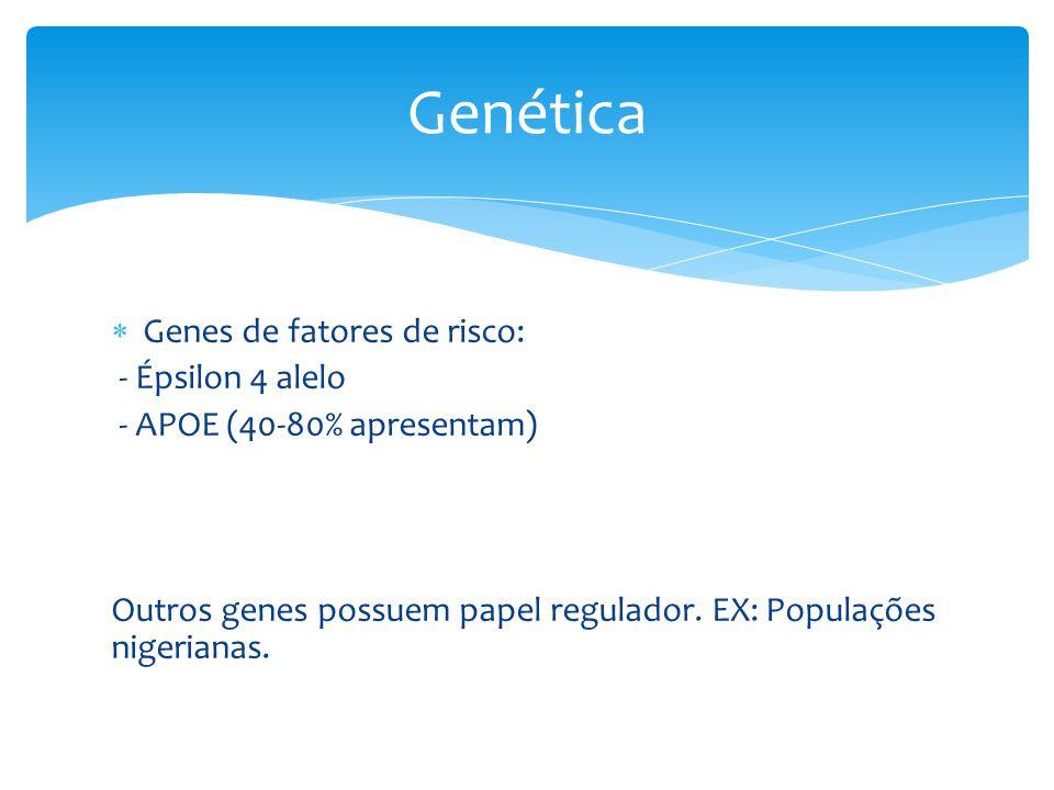 Genética Genes de fatores de risco: - Épsilon 4 alelo