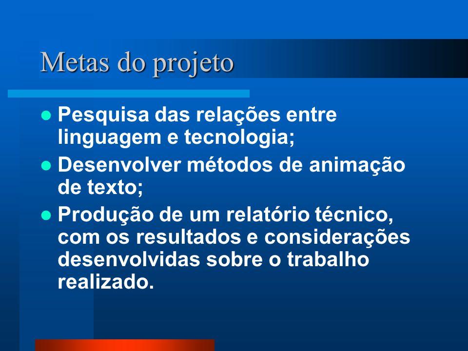 Metas do projeto Pesquisa das relações entre linguagem e tecnologia;
