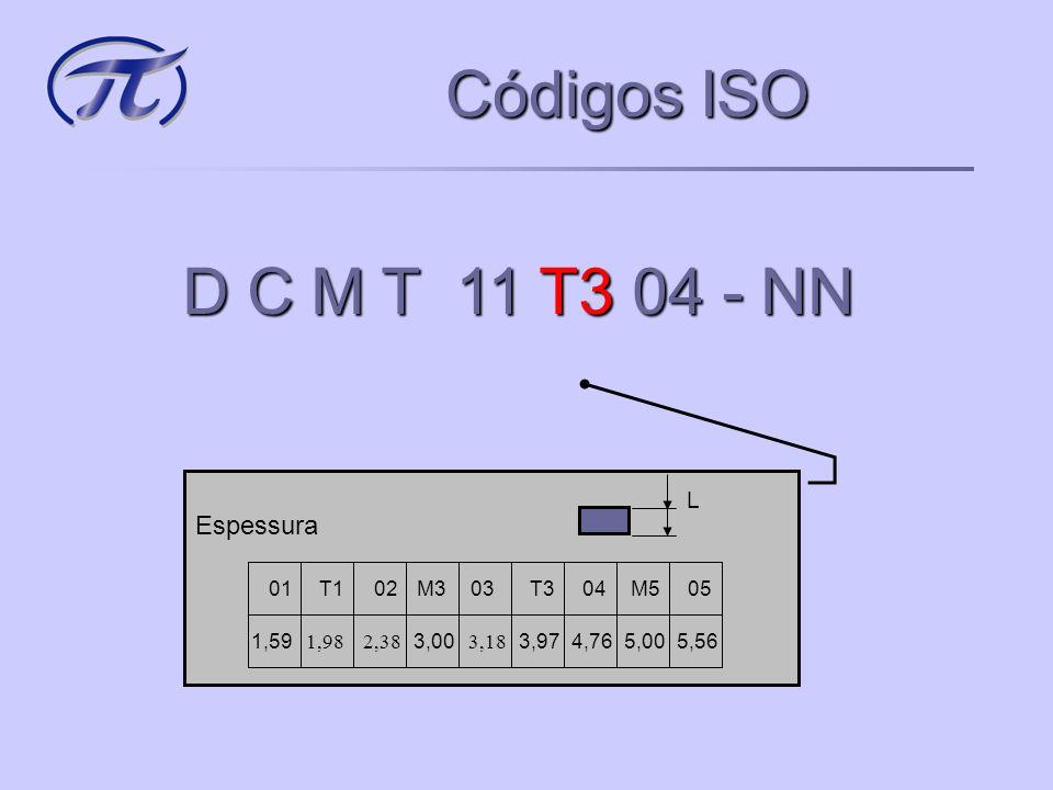 Códigos ISO D C M T 11 T3 04 - NN Espessura L 01 1,59 T1 02 M3 03 T3