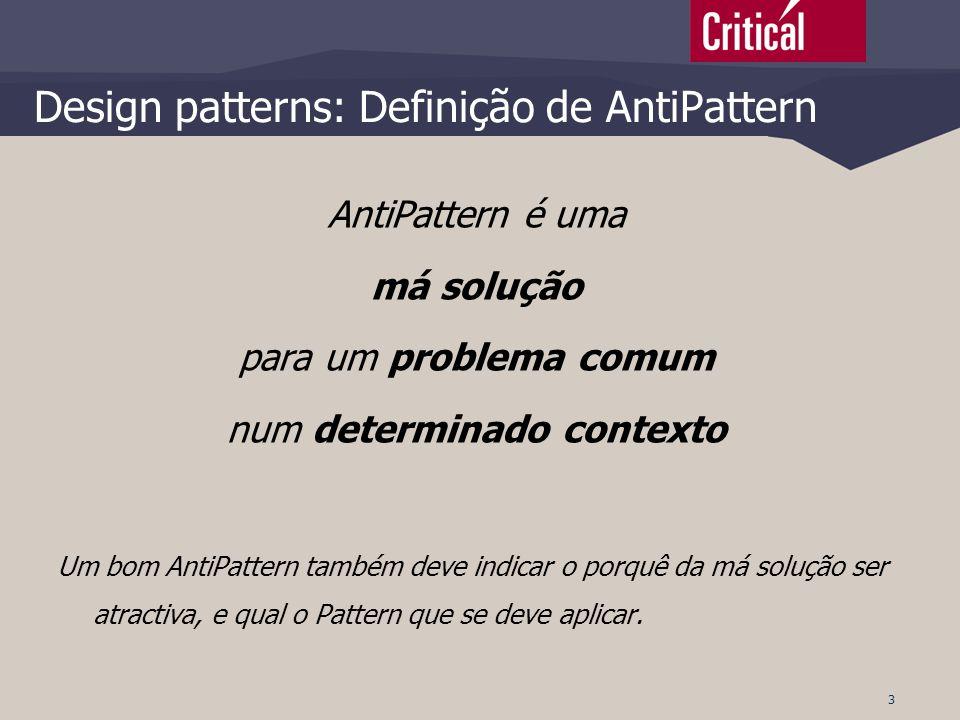 Design patterns: Definição de AntiPattern