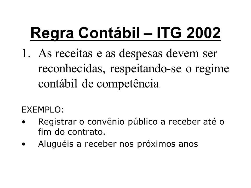 Regra Contábil – ITG 2002 As receitas e as despesas devem ser reconhecidas, respeitando-se o regime contábil de competência.