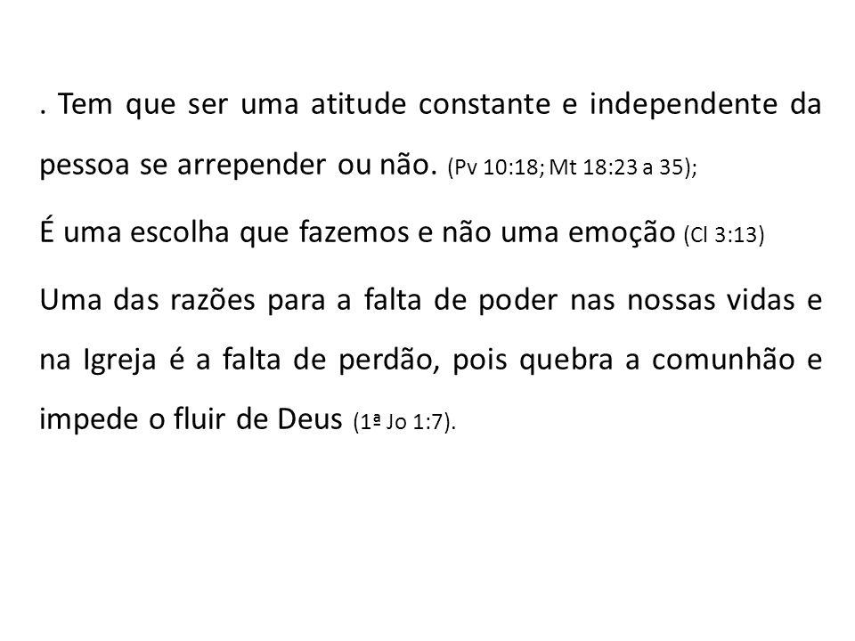 . Tem que ser uma atitude constante e independente da pessoa se arrepender ou não. (Pv 10:18; Mt 18:23 a 35);