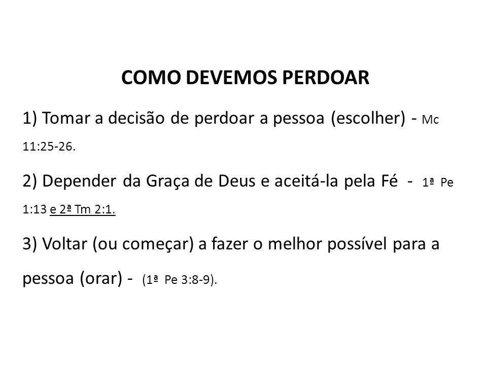 COMO DEVEMOS PERDOAR 1) Tomar a decisão de perdoar a pessoa (escolher) - Mc 11:25-26.