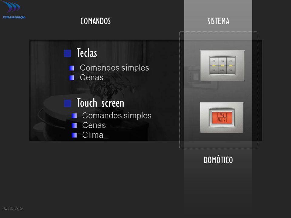 Teclas Touch screen COMANDOS SISTEMA DOMÓTICO Comandos simples Cenas