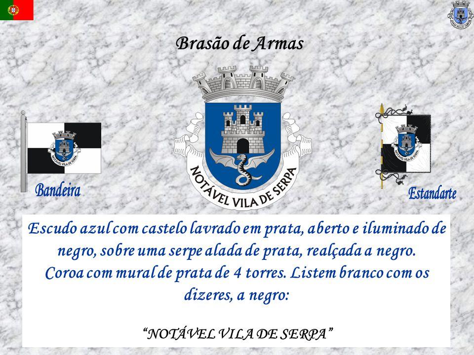 Brasão de Armas Bandeira. Estandarte. Escudo azul com castelo lavrado em prata, aberto e iluminado de.