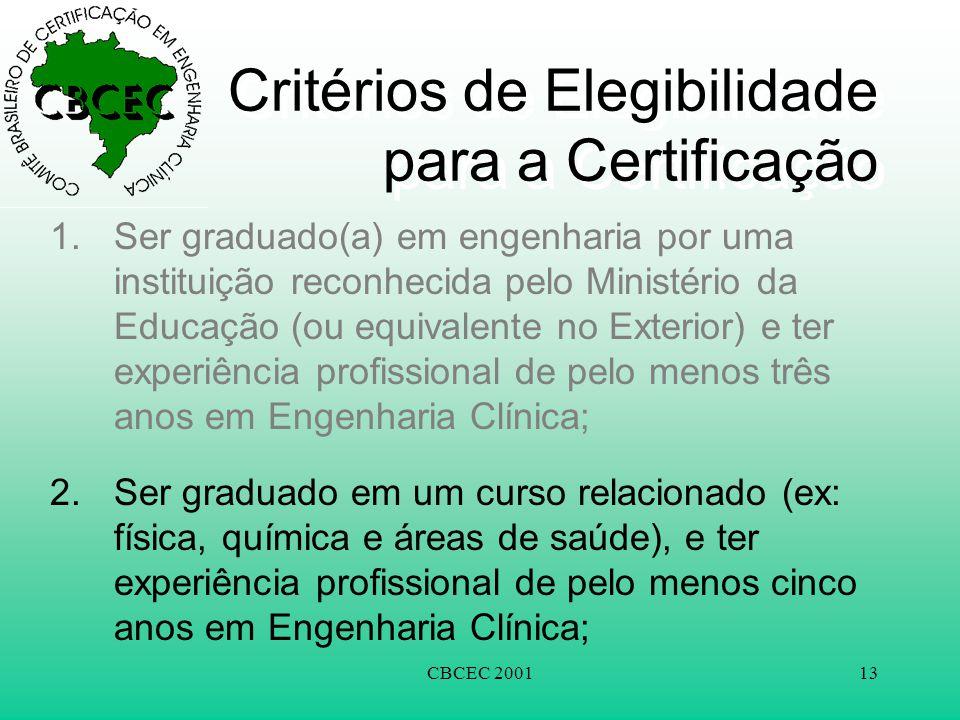 Critérios de Elegibilidade para a Certificação