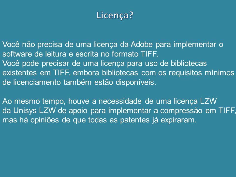 Licença Você não precisa de uma licença da Adobe para implementar o