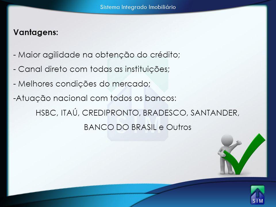 HSBC, ITAÚ, CREDIPRONTO, BRADESCO, SANTANDER, BANCO DO BRASIL e Outros