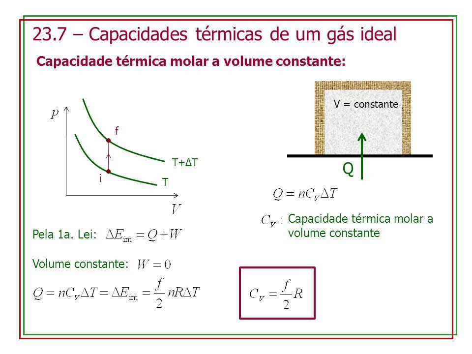 23.7 – Capacidades térmicas de um gás ideal