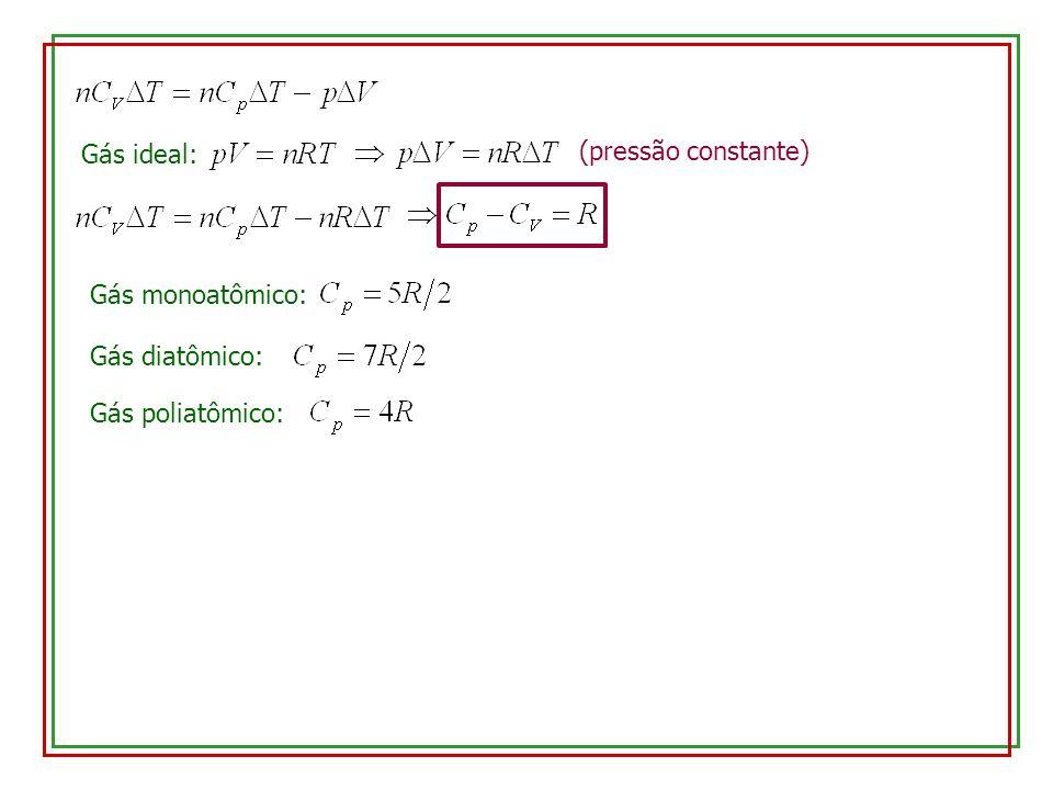Gás ideal: (pressão constante) Gás monoatômico: Gás diatômico: Gás poliatômico: