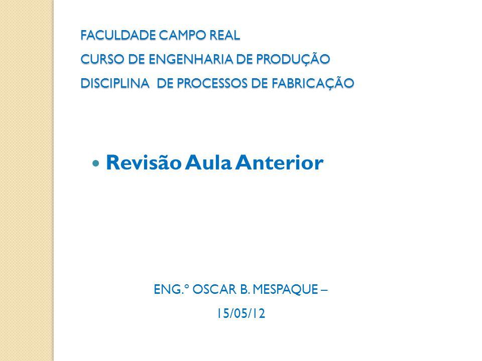 FACULDADE CAMPO REAL CURSO DE ENGENHARIA DE PRODUÇÃO DISCIPLINA DE PROCESSOS DE FABRICAÇÃO